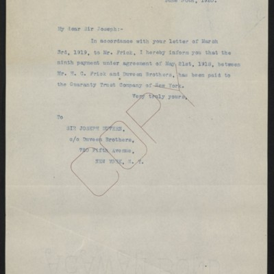 Letter from [Office of the Estate of Henry Clay Frick] to Joseph Duveen, 30 June 1920