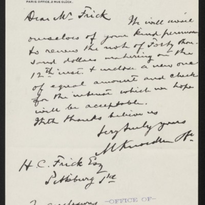 Letter from M. Knoedler & Co. to Henry Clay Frick, 9 December 1902