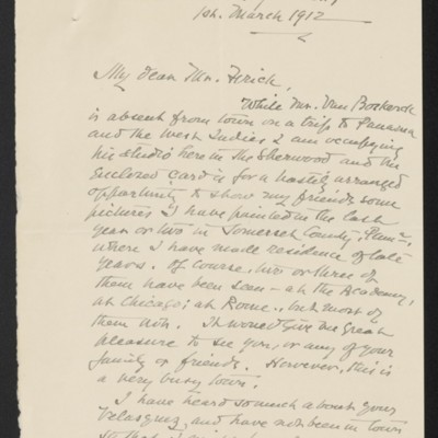 Letter from William A. Coffin to Henry Clay Frick, 1 March 1912