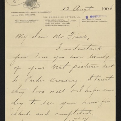 Letter from Charles S. Carstairs to [Henry Clay] Frick, 12 August 1906 [page 1 of 6]