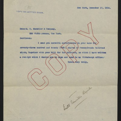 Letter from [Henry Clay Frick] to M. Knoedler & Co., 17 December 1914