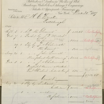 M. Knoedler & Co. Invoice, 31 December 1897