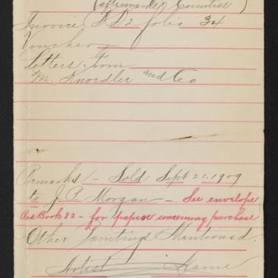 "Draft envelope for Reynolds' ""Portrait of Mrs. Harcourt,"" 1906, 1909"