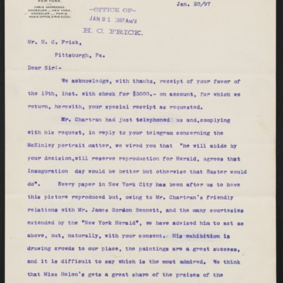 Letter from M. Knoedler & Co. to Henry Clay Frick, 20 January 1897