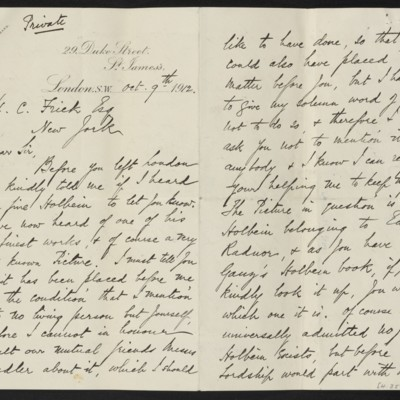 Letter from H. Silva White to H.C. Frick, 9 October 1912 [page 1 of 2]