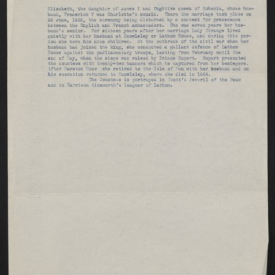 Fragment of biographical information about the Countess of Derby, undated