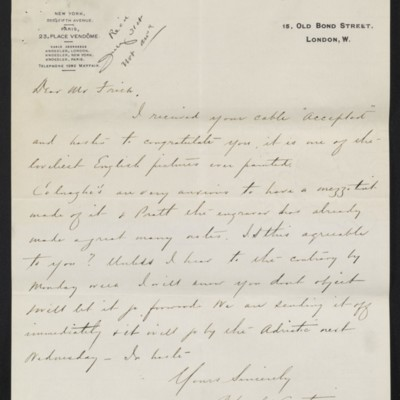 Letter from Charles S. Carstairs to [Henry Clay] Frick, 23 July 1908