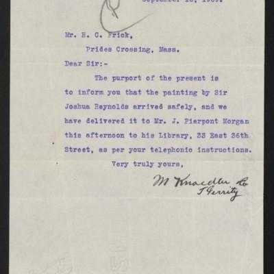 Letter from M. Knoedler & Co. to Henry Clay Frick, 16 September 1909