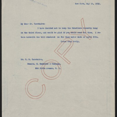 Letter from Henry Clay Frick to Charles S. Carstairs, 14 May 1915
