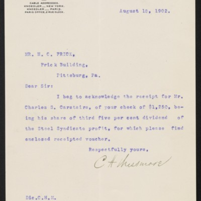 Letter from C.H. Messmore to Henry Clay Frick, 18 August 1902