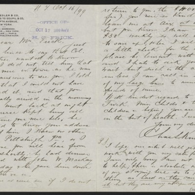 Letter from Charles L. Knoedler to Henry Clay Frick, 16 October 1899