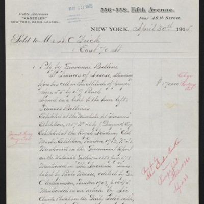 Invoice from M. Knoedler & Co. to Henry Clay Frick, 30 April 1915
