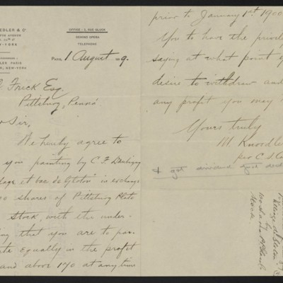 Letter from M. Knoedler & Co. (C.S. Carstairs) to Henry Clay Frick, 1 August 1899