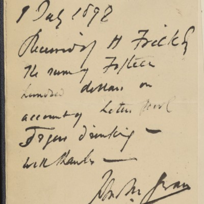 Receipt from John M. Swan to Henry Clay Frick, 1 July 1898