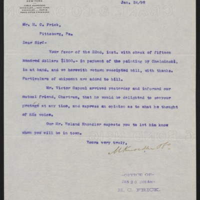 Letter from M. Knoedler & Co. to Henry Clay Frick, 24 January 1898