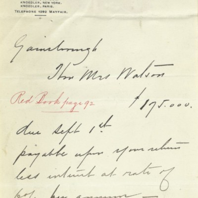 M. Knoedler & Co. Invoice, 21 May 1909