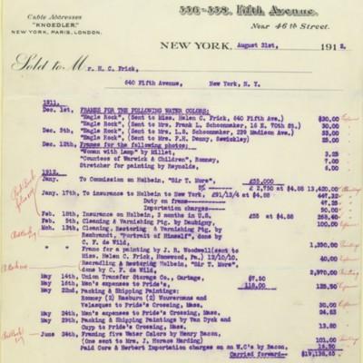 M. Knoedler & Co. Invoice, 30 June 1912