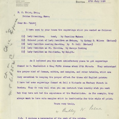 Letter from Bradley W. Palmer  to Henry Clay Frick, 27 July 1908