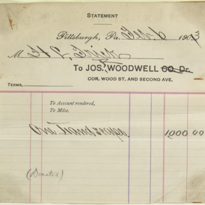 Joseph R. Woodwell invoice, 6 February 1903