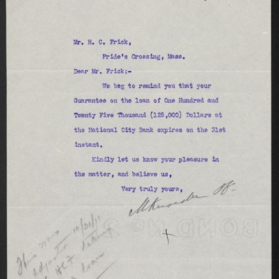 Letter from M. Knoedler & Co. to Henry Clay Frick, 27 October 1911