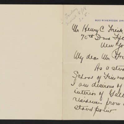 Letter from Aimee Gifford Downs to Henry C. Frick, 27 February 1918 [page 1 of 2]