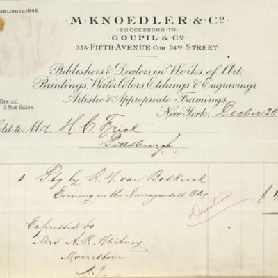 M. Knoedler & Co. Invoice, 26 December 1900