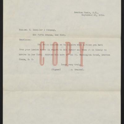 Letter from A. Braddel to M. Knoedler & Co., 21 September 1914 [front]