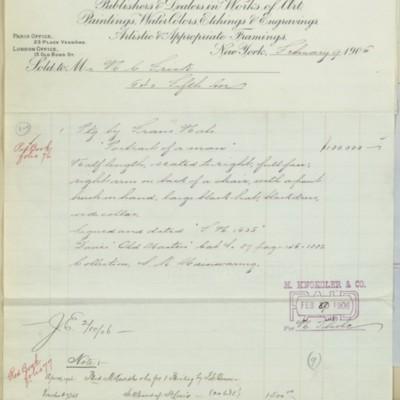 M. Knoedler & Co. Invoice, 9 February 1906
