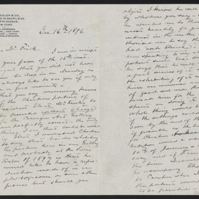 Letter from Roland F. Knoedler to Henry Clay Frick, 16 December 1896