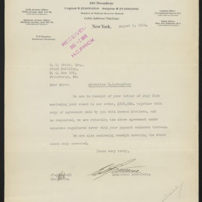Letter from E.S. Prentice to Henry Clay Frick, 1August 1919
