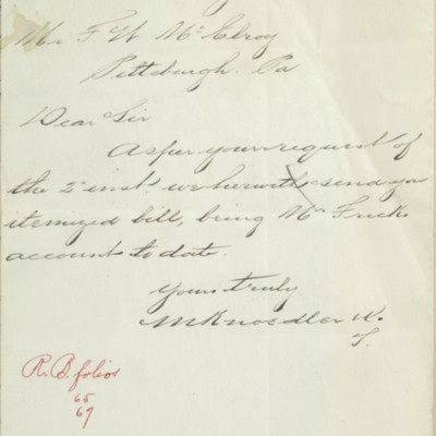Letter from M. Knoedler & Co. to F.W. McElroy, 3 January 1905