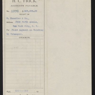 """Voucher from H.C. Frick to M. Knoedler & Co. for payment toward Velazquez's """"Portrait of Philip IV,"""" 14 March 1911 [front]"""