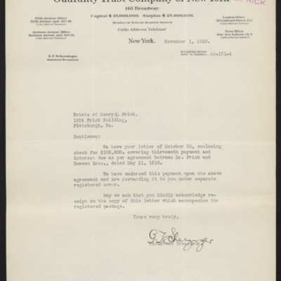 Letter from G.T. Scherzinger to Estate of Henry Clay Frick, 1 November 1920