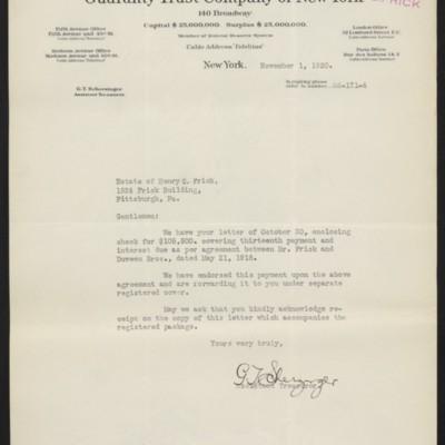 Letter from G.T. Scherzinger to Estate of Henry Clay Frick, 1 November 1920