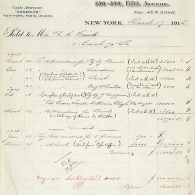 M. Knoedler & Co. Account Summary, 17 March 1915