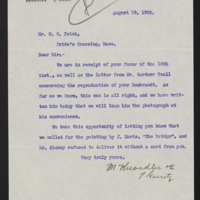 Letter from M. Knoedler & Co. to Henry Clay Frick, 19 August 1908