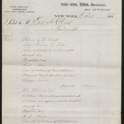 Invoice from M. Knoedler & Co. to the Estate of H.C. Frick, 13 February 1920 [page 1 of 2]