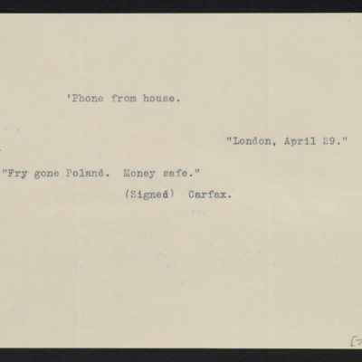 Cable from Carfax [Gallery?] to [Henry Clay Frick], 29 April 1910
