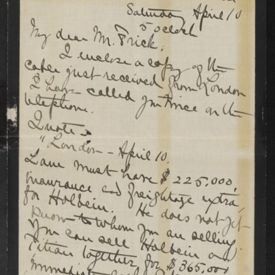 Letter from Alice B. Creelman to [H.C.] Frick, 10 April 1915 [page 1 of 2]
