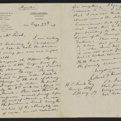 Letter from Roland F. Knoedler to [Henry Clay] Frick, 27 September 1898