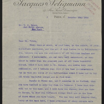 Letter from Jacques Seligmann to H.C. Frick, 10 October 1916 [page 1 of 3]