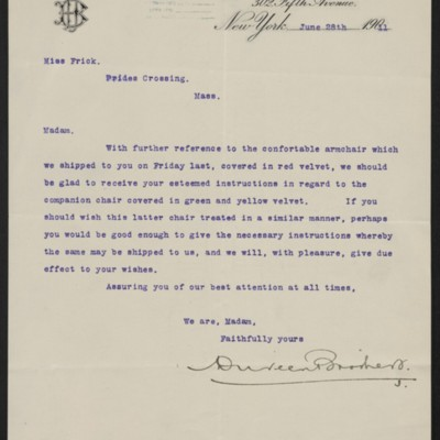 Letter from Duveen Brothers to Helen Clay Frick, 28 June 1911