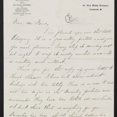Letter from Charles Carstairs to [Henry Clay] Frick, 20 November 1908 [page 1 of 2]