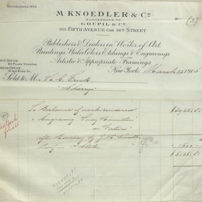 M. Knoedler & Co. Invoice, 23 March 1905