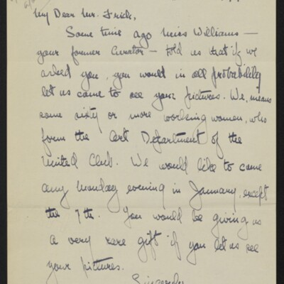 Letter from Alma Ash Klaw to [H.C.] Frick, 18 December 1917