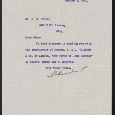 Letter from M. Knoedler & Co. to Henry Clay Frick, 5 January 1910
