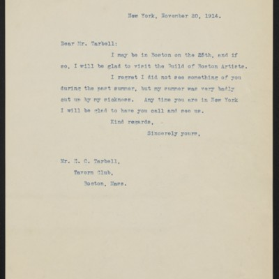 Letter from [Henry Clay Frick] to E.C. Tarbell, 20 November 1914