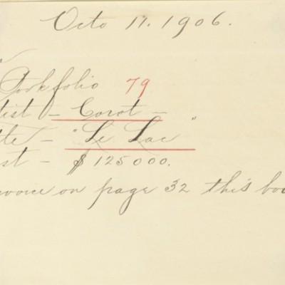 Memorandum prepared by Henry Clay Frick's secretary, 11 October 1906