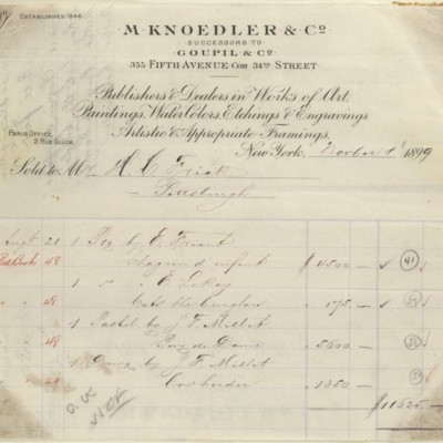 M. Knoedler & Co. Invoice, 8 November 1899.