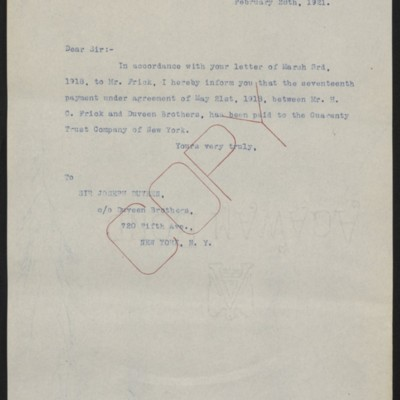 Letter from [Office of Estate of Henry Clay Frick] to Joseph Duveen, 28 February 1921